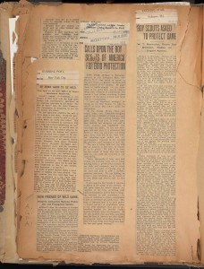 Articles on Hornaday's calls to the BSA. In Hornaday Wildlife Scrapbook Collection, Vol. 3. WCS Archives Collection 1007.