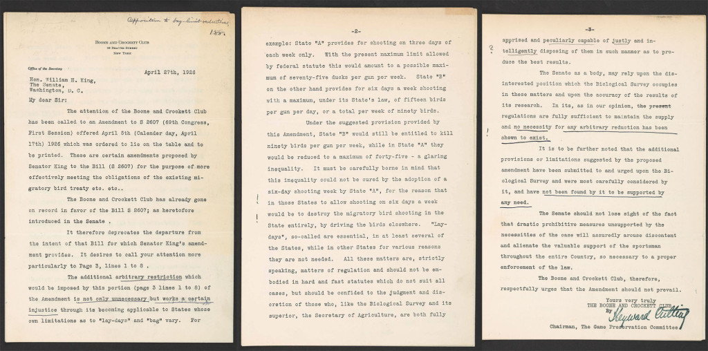 Letter from Hayward Cutting, Boone and Crockett Club, to Senator William H. King, 1926 April 27.