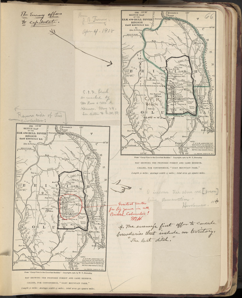 "Page describing the plans of ""the enemy"" (i.e. those who disagreed with Hornaday's vision for a game preserve in British Columbia). In Hornaday Wildlife Scrapbook Collection, Vol. 1. WCS Archives Collection 1007."