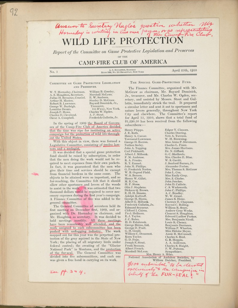 Wildlife Life Protection. CFCA Report, 1910. In Hornaday Wildlife Scrapbook Collection, Vol. 4. WCS Archives Collection 1007.
