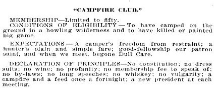 Text from early invitation to Camp Fire Club of America.