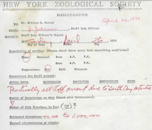 Jerry Johnson, the Bronx Zoo's Curator of Exhibits and Graphic Design, estimated Bronx Zoo attendance for Sunday, April 26th, 1970 at between 50,000 and 1,000,000 visitors.
