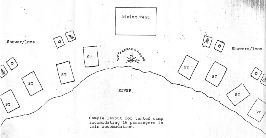A sketch conveying plans for the camp, included in a letter to trustees considering the trip, in 1980 [edit caption to account for Specific DATE].
