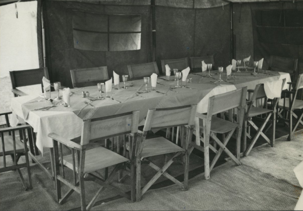 Boma Plateau camp dining tent with the table set for visiting NYZS trustees [edit caption to account for Specific DATE]