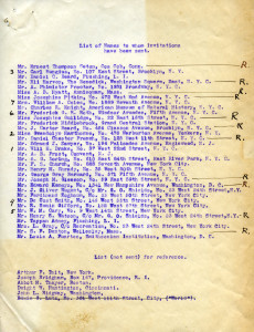 List of invitees to the Lion House Artists' Studio Opening, 1903. In WCS Archives Collection 1001.