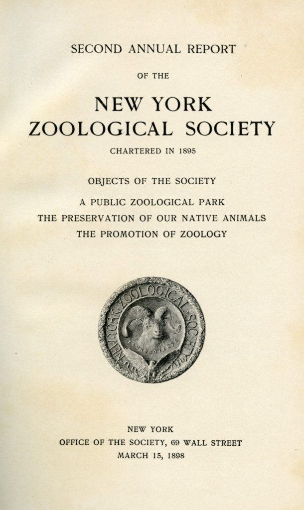 Title page from the Second Annual Report of the NYZS, featuring the Society's seal, designed by Charles R. Knight. From WCS Archives