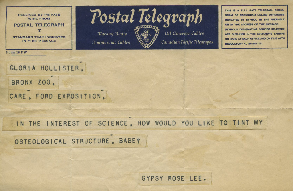 Telegraph from Gypsy Rose Lee to Gloria Hollister. Scanned from WCS Archives Collection 1006
