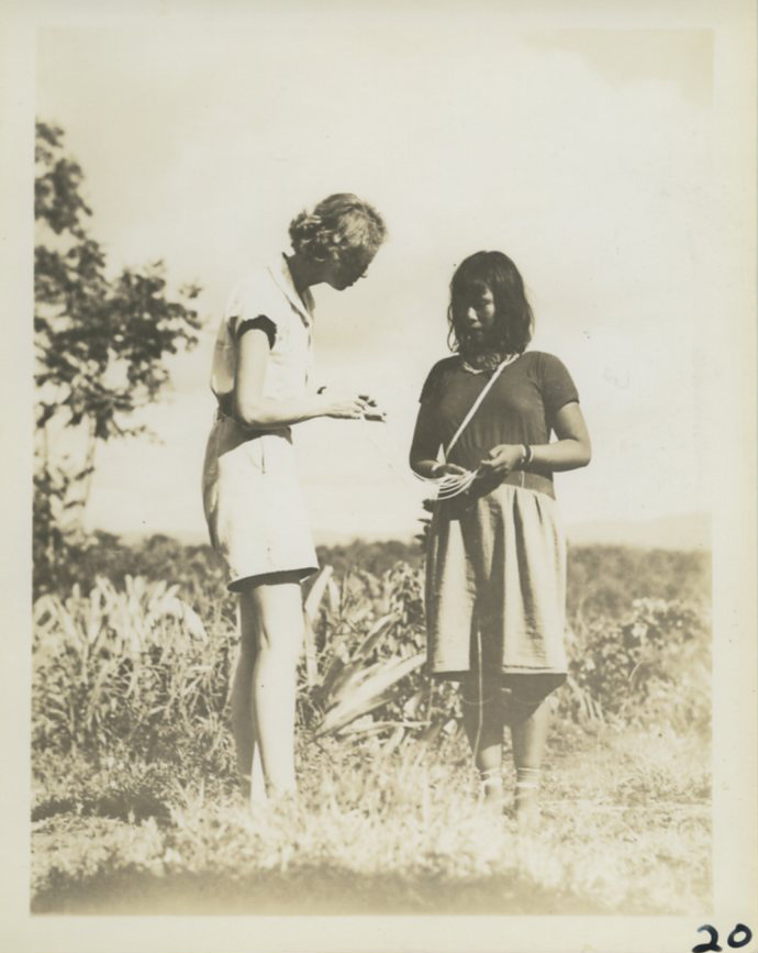 Gloria Hollister and a native British Guiana woman, 1936. Scanned from WCS Archives Collection 1006