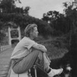Gloria Hollister on a suspension bridge at Garraway, British Guiana, 1936. Scanned from WCS Archives Collection 1006