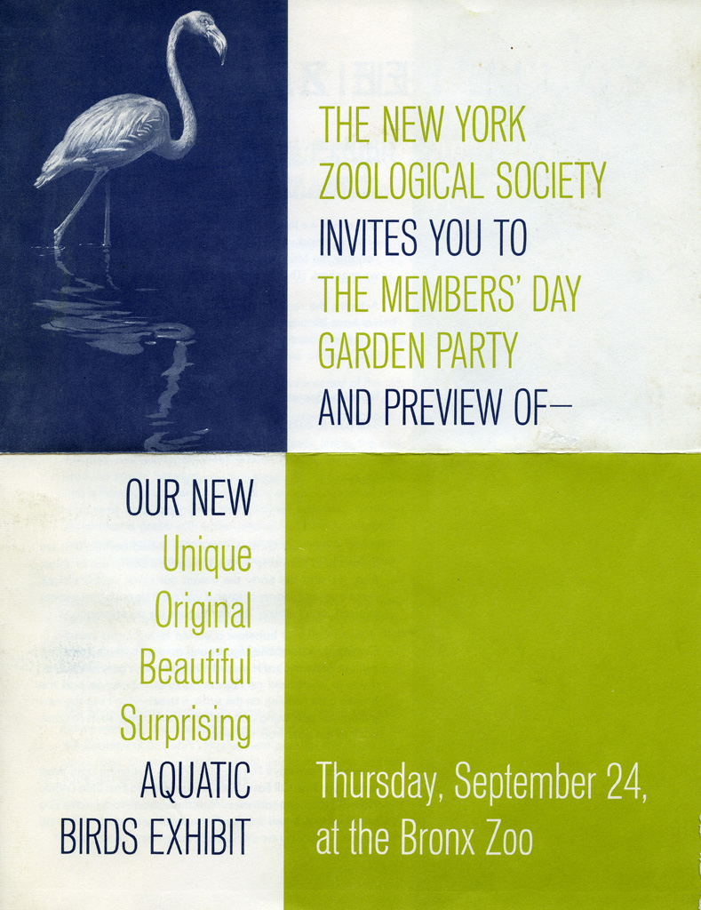 Invitation to 1964 NYZS Members' Garden Party. WCS Archives Collection