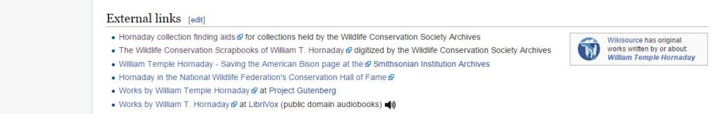 Example of a link to the WCS finding aids from the William Hornaday Wikipedia entry.