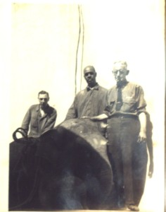 Prospect Park Head Keeper John O'Brien (in glasses) with elephant and other zoo keepers