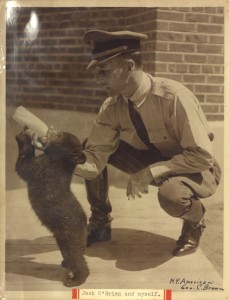 Cheyne-Stout with 'Jack O'Brien,' a young bear born in Prospect Park Zoo and named after the zoo's head keeper