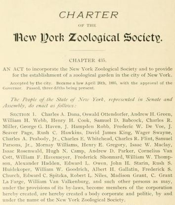 The Act establishing the New York Zoological Society, reprinted in the first NYZS annual report.