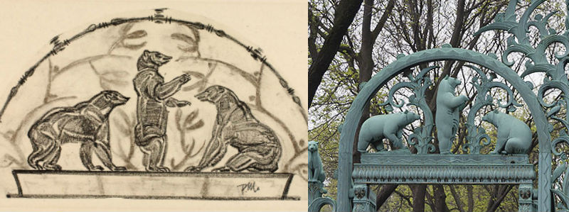 Detail of Rainey Gates. (L) Image from Smithsonian American Art Museum. (R) Image from photo by Kimio Honda.