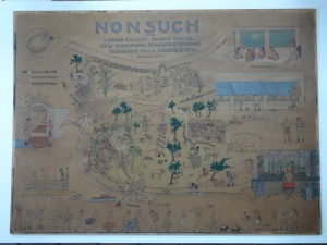 "Pre-conservation treatment photo of Helen Tee-Van's illustration ""Nonsuch, Alias..."", depicting the facilities and inhabitants of William Beebe's Department of Tropical Research station on Nonsuch Island, Bermuda"