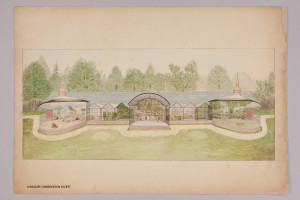 Post-conservation treatment photo of William T. Hornaday's illustration of the yet-to-be-built Lion House at the Bronx Zoo