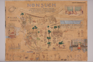 "Post-conservation treatment photo of Helen Tee Van's illustration ""Nonsuch, Alias..."", depicting the facilities and inhabitants of William Beebe's Department of Tropical Research station on Nonsuch Island, Bermuda"