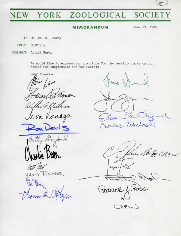 Letter signed by EGAD members to William Conway, June 19, 1985. WCS Archives Collection 1028