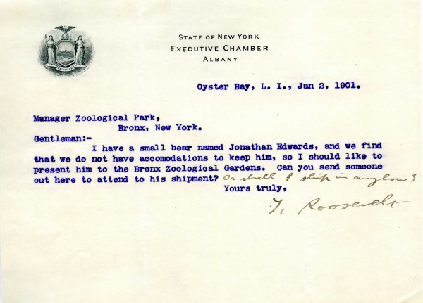 Theodore Roosevelt to William Hornaday, January 2, 1901. WCS Archives Collection 1001
