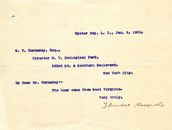 Theodore Roosevelt to William Hornaday, January 5, 1901. In WCS Archives Collection 1001