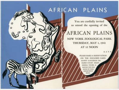 Invitation to the opening of African Plains exhibit, Bronx Zoo, 1941. WCS Archives Collection 2016