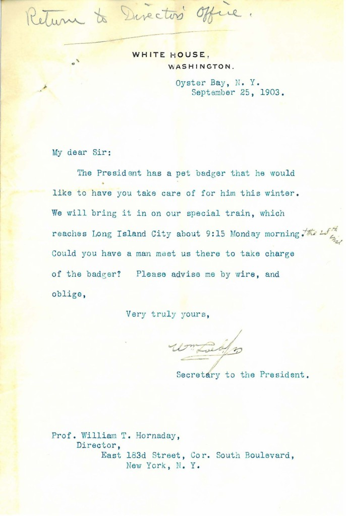 William Loeb Jr. to William Hornaday, September 21, 1903. WCS Archives Collection 1001