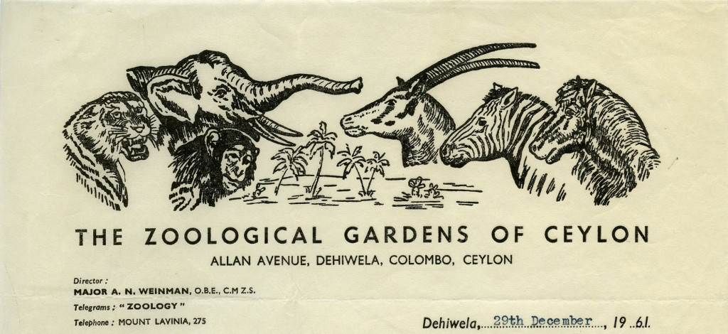 Zoological Gardens of Ceylon [Modern day Sri Lanka] – 1961