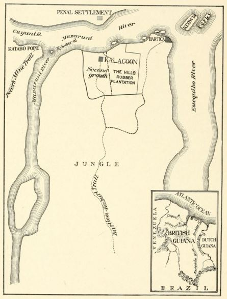Map of the Tropical Research Station's general field of work. From Tropical Wild Life in British Guiana (1917).