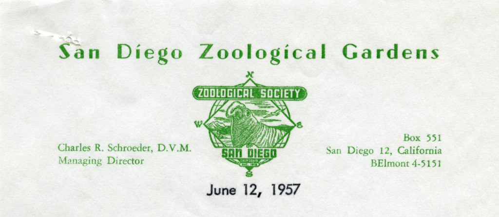 San Diego Zoological Gardens, 1957