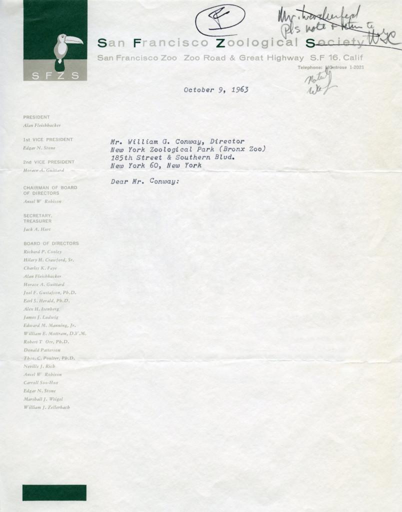 San Francisco Zoological Society, 1963