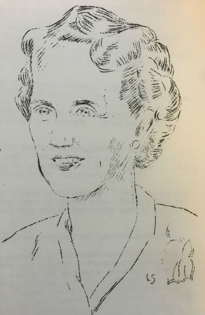 Sketch of Grace Davall by Lloyd Sanford from August 1949 issue of Zoo Log. WCS Archives