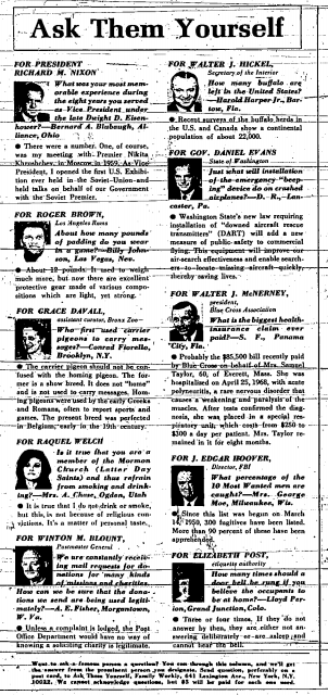 """Ask Them Yourself"" Sunday column, October 5, 1969. Davall appeared in the column at least three times."