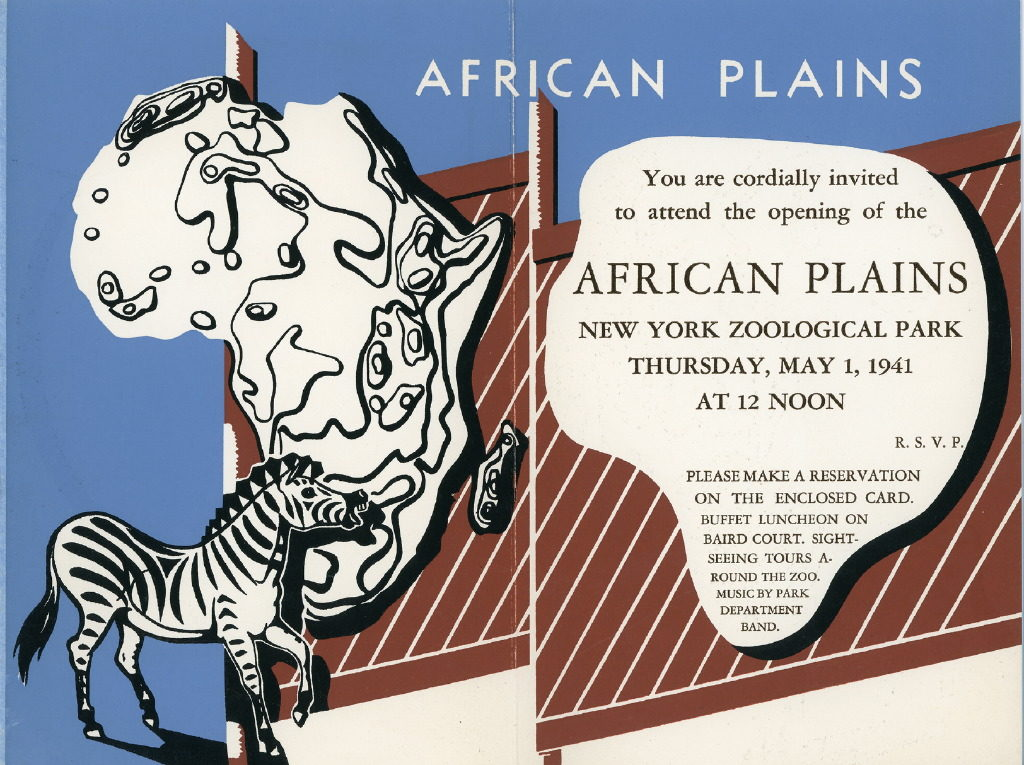 African Plains opening day invitation, 1941. WCS Archives Collection 2016