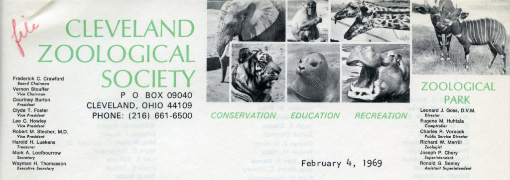 Cleveland Zoological Society, February 1969