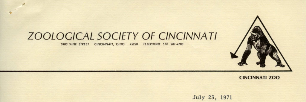 Zoological Society of Cincinnati, July 1971