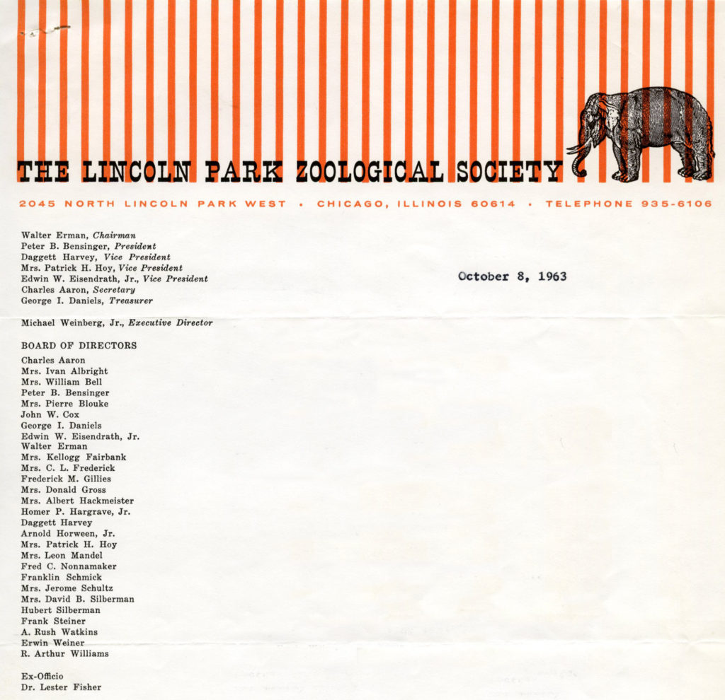 Lincoln Park Zoological Society, October 1963