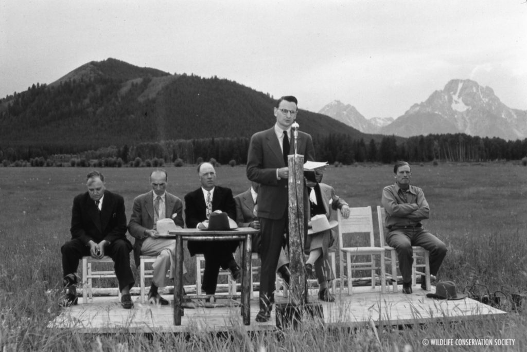 Laurance Rockefeller at the opening of the Jackson Hole Wildlife Park, July 18, 1948. WCS Photo Collection