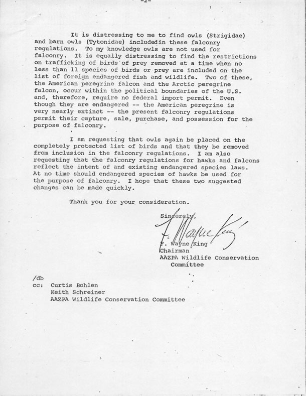 Letter from F. Wayne King, Chairman of the American Association of Zoological Parks and Aquariums' Wildlife Conservation Committee, to the Bureau of Sports Fisheries and Wildlife, United States Department of the Interior, 1972. Scanned from WCS Archives Collection 2018.