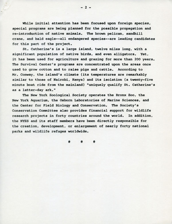Press release for the opening of the Wildlife Survival Centre on St. Catherines Island, Georgia, page 1, circa 1974-1975. Scanned from WCS Archives public affairs collections.