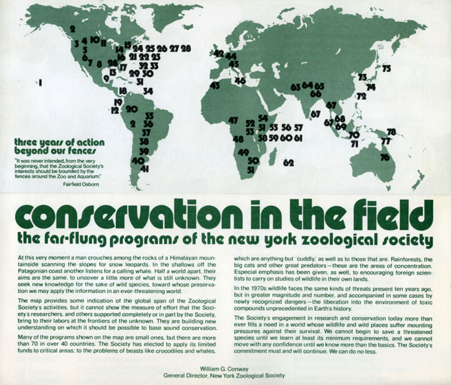 "Reverse side of ""Conservation in the Field"" promotional pamphlet, circa 1970s. Scanned from WCS Archives Collection 2018."