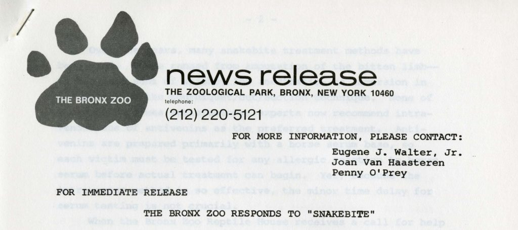 Bronx Zoo press release, circa 1970s. Scanned from WCS Archives Collection 2032.