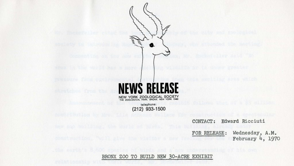 NYZS press release, 1970. Scanned from WCS Archives Collection 2032.