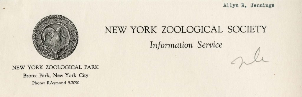 NYZS press release, circa 1940s. Photographed from WCS Archives Collection 2032.